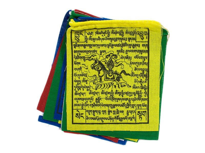 Kleine tibetische Mini Gebetsfahnen Lungta Windpferd