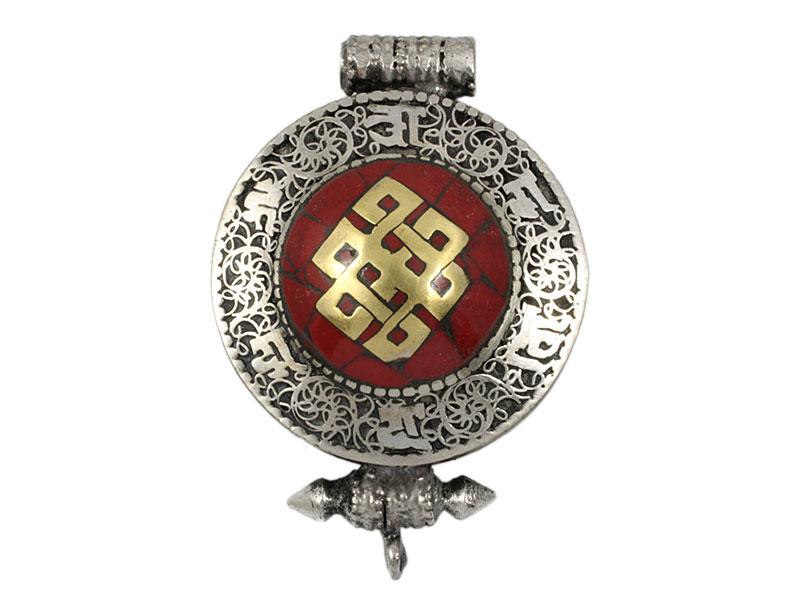 Tibetische Ghau Box Filigran - Unendlicher Knoten