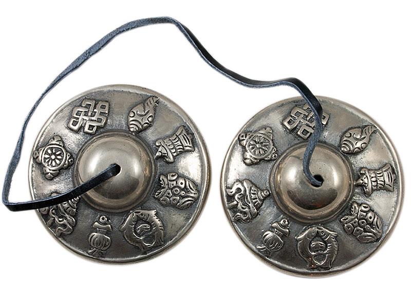 Tingsha / Zimbeln mit 8 Glückssymbolen