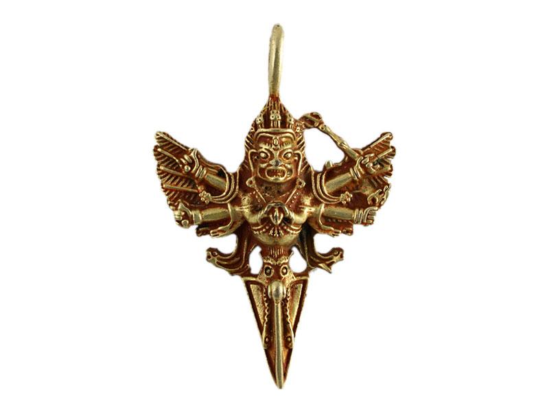 Anhänger Amulett Vajrakilaya Phurba vergoldet