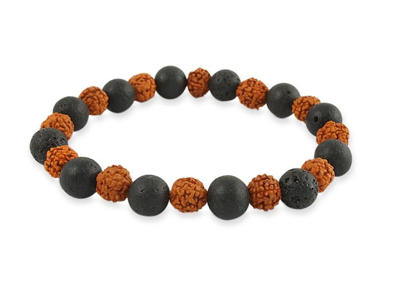 Armband mit Rudraksha und Lavastein Perlen