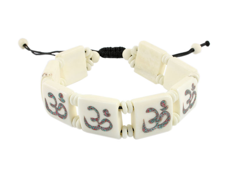Yak Knochen Armband Om Symbol weiß