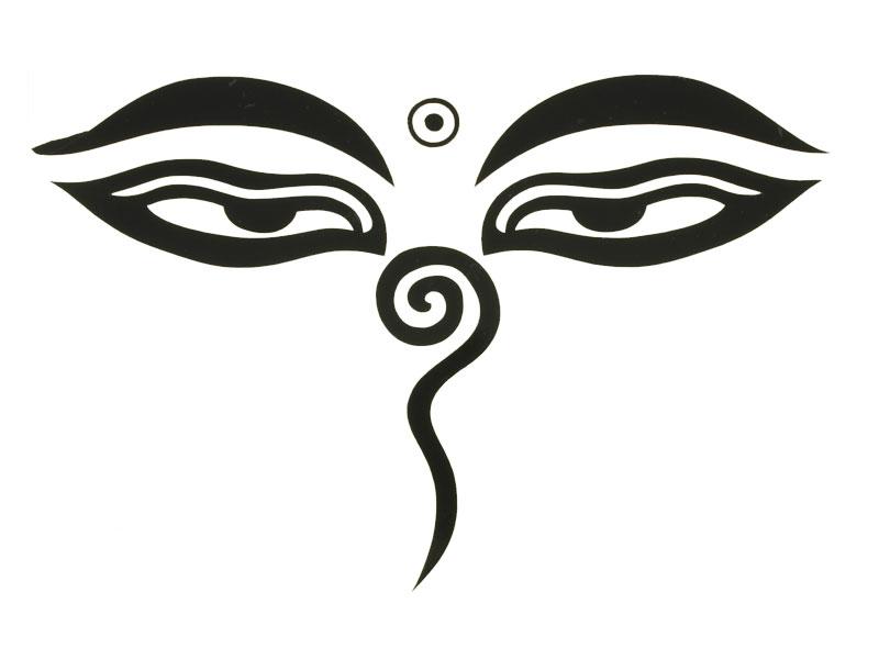 Aufkleber Sticker Augen Buddhas 15 x 10 cm