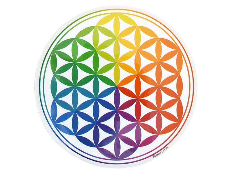Fenster Aufkleber Sticker Blume des Lebens Regenbogen