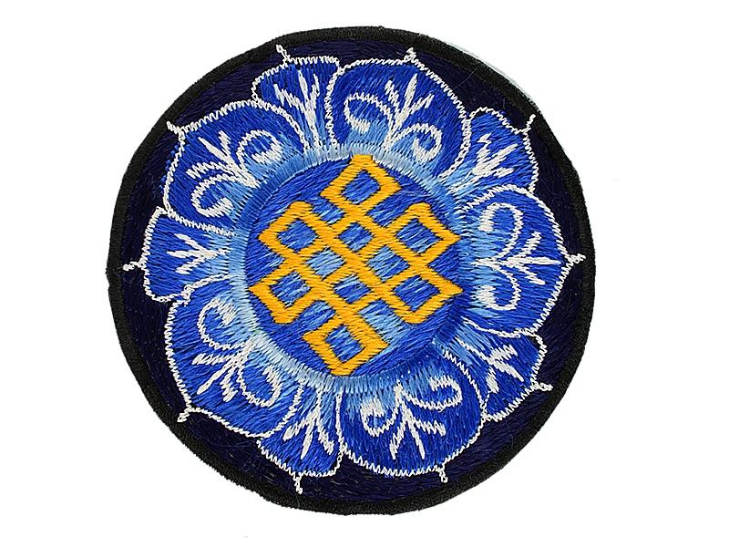 Aufnäher Patch - Unendlicher Knoten im Lotus blau