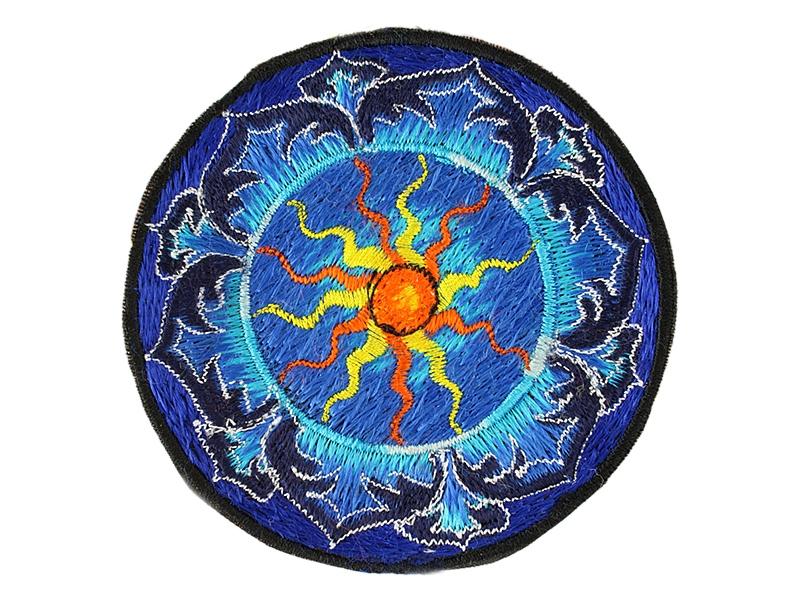 Aufnäher / Patch - Sonne im Lotus blau