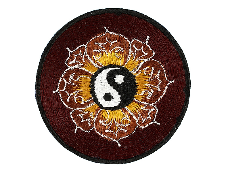 Aufnäher / Patches - Yin und Yang im Lotus rotbraun