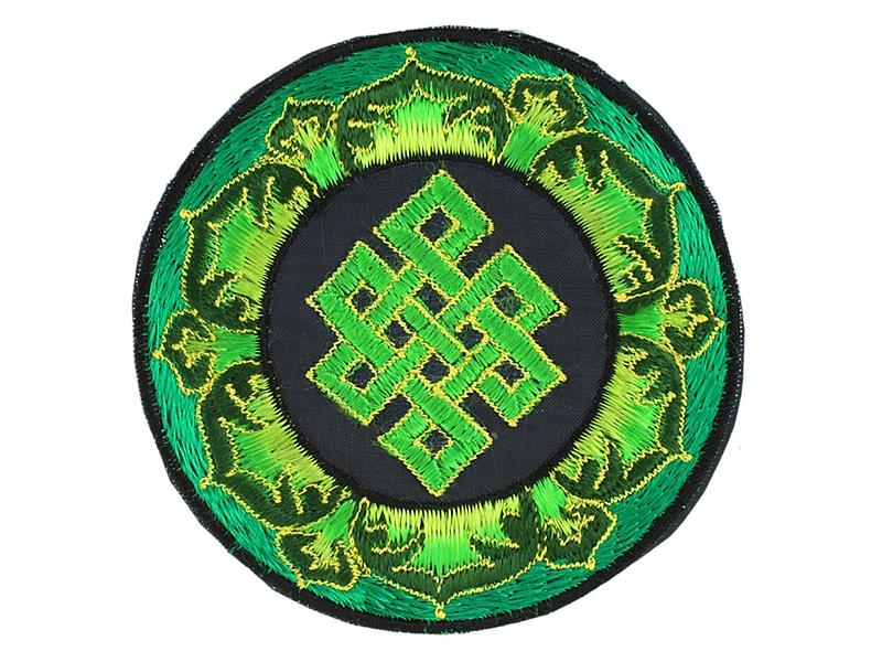 Aufnäher Patch - Unendlicher Knoten im Lotus grün