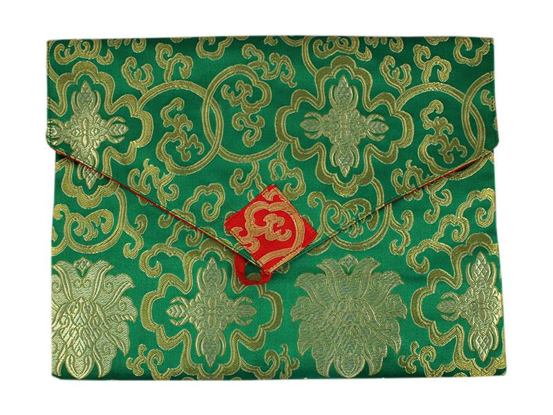 Tibetische Buchhülle Brokat A4 grün
