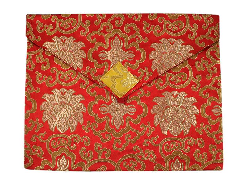 Tibetische Buchhülle Brokat A4 rot