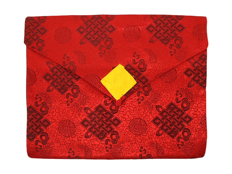 Tibetische Buchhülle Brokat unendlicher Knoten A4 rot
