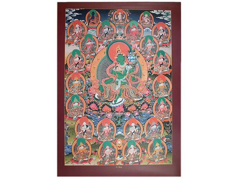 Dharma Poster 21 Taras mit Grüne Tara