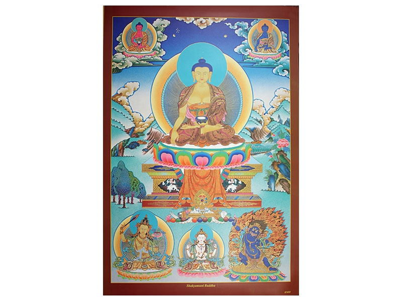 Dharma Poster Shakyamuni mit Buddhas