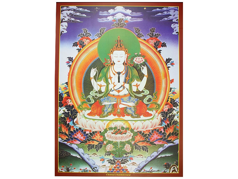 Dharma Poster mit Chenrezig Buddha