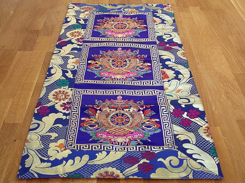 Tibetischer Tischläufer mit Glückssymbole blau