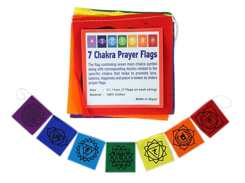 Tibetische Gebetsfahnen 7 Chakren Mini