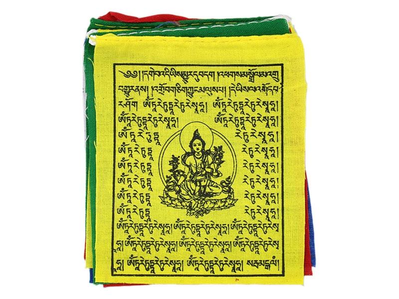 Kleine tibetische Mini Gebetsfahnen mit Grüne Tara
