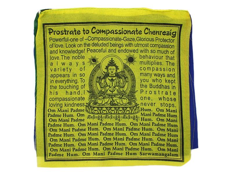 Gebetsfahnen - Chenrezig Buddha Englisch
