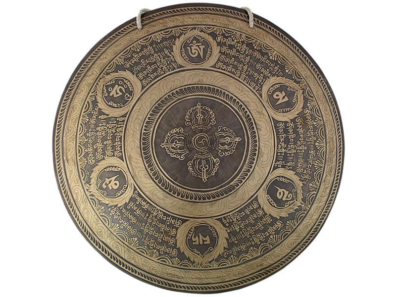 Nepal Gong Doppel Dorje Mantra Gravur