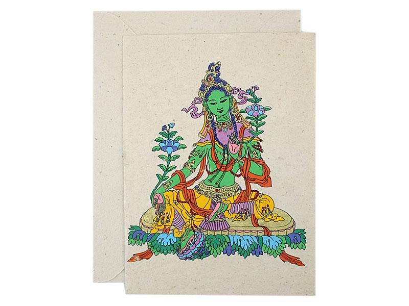 Grußkarten mit Umschlag Grüne Tara