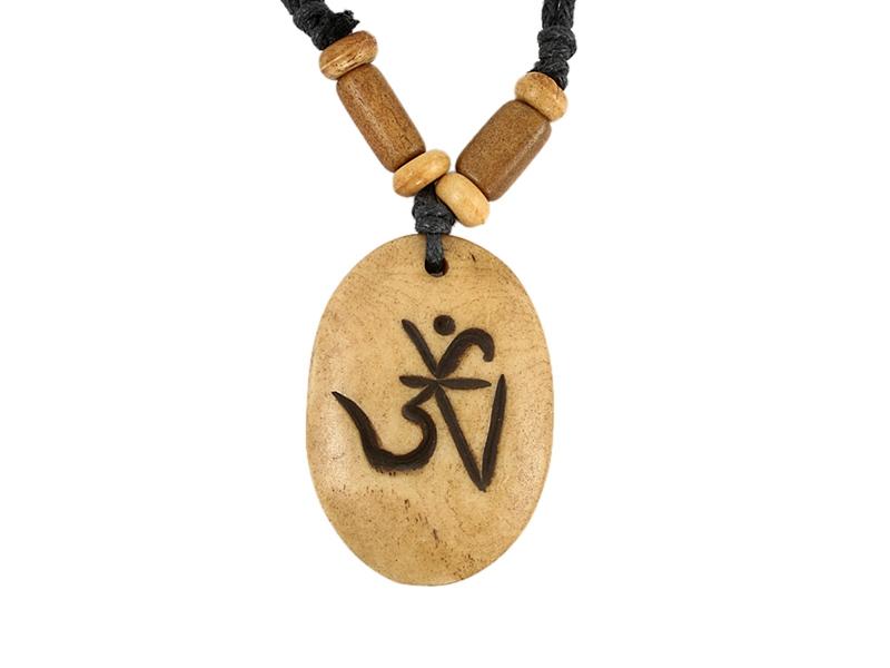 Yak-Knochen Kette - Om Aum Symbol braun