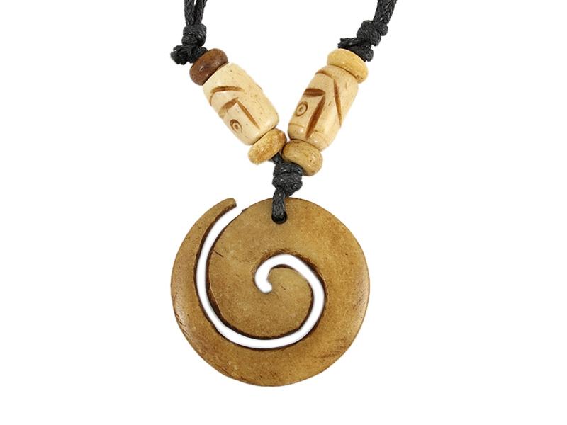 Yak-Knochen Kette mit Spirale