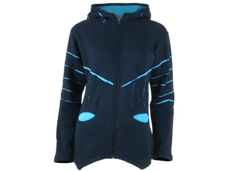 Goa Fleece Jacke Zipfelmützenjacke blau/hellblau