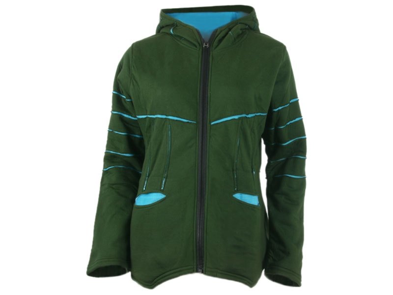 Goa Fleece Jacke Zipfelmützenjacke grün/hellblau