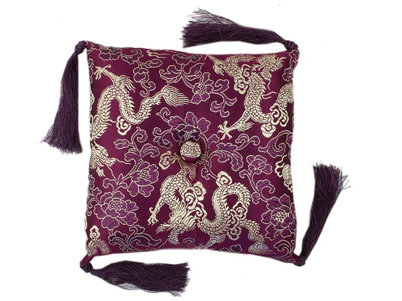 Klangschalenkissen Brokat Drache lila 15 cm