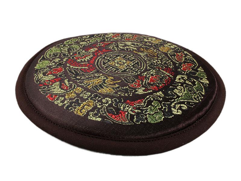Klangschalenkissen Mandala Satin braun 15 cm