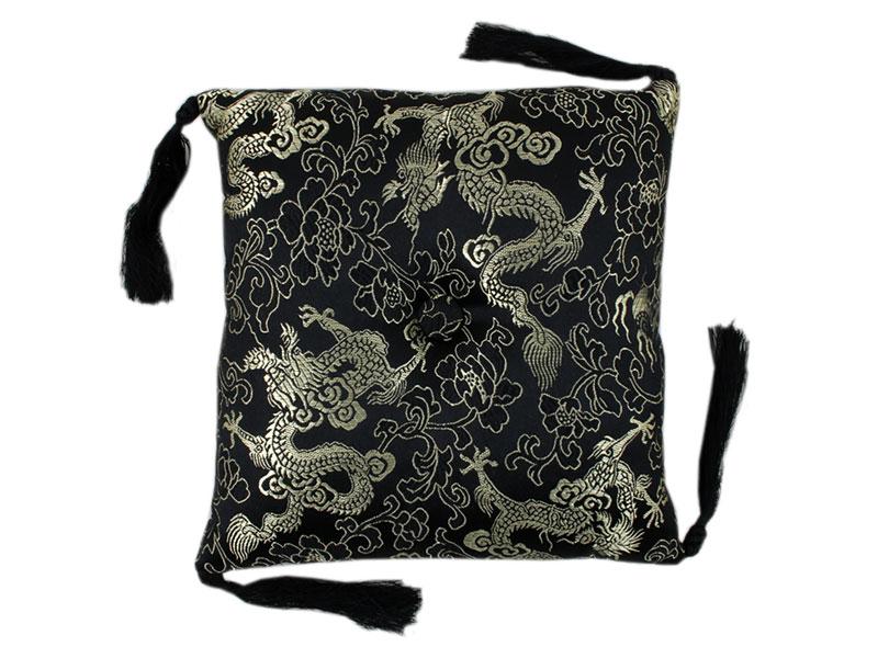 Klangschalenkissen Brokat Drache schwarz 17 cm