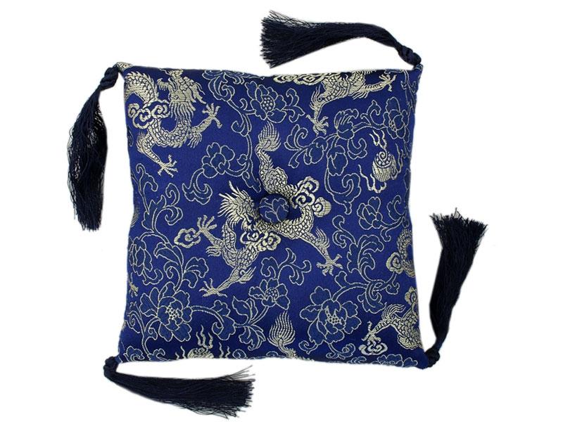 Klangschalenkissen Brokat Drache blau 15 cm