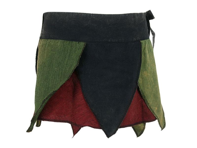 Zipfelrock Wickelrock Batik schwarz/grün
