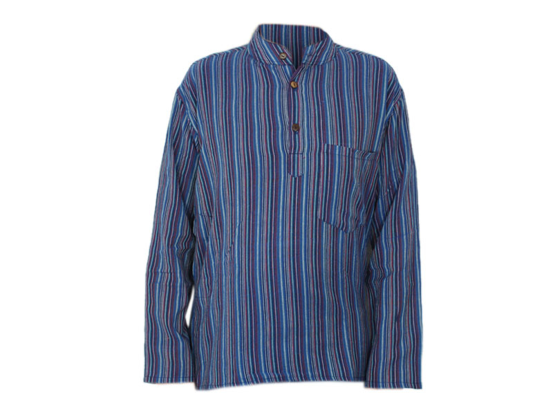 Kurta Hemd gestreift blau