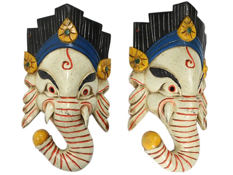 Holzmaske Ganesha handgeschnitzt