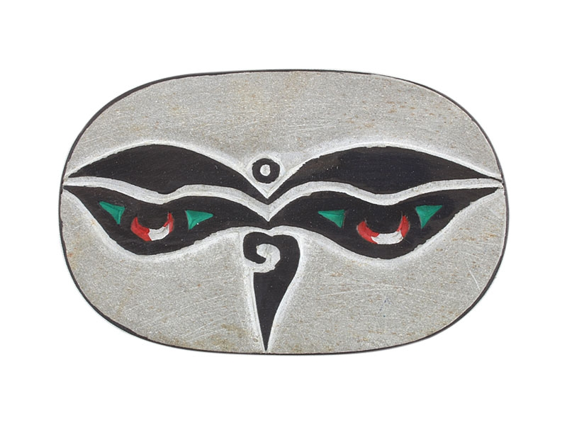 Manistein Scheibe Om Mani Mantra und Buddha Augen