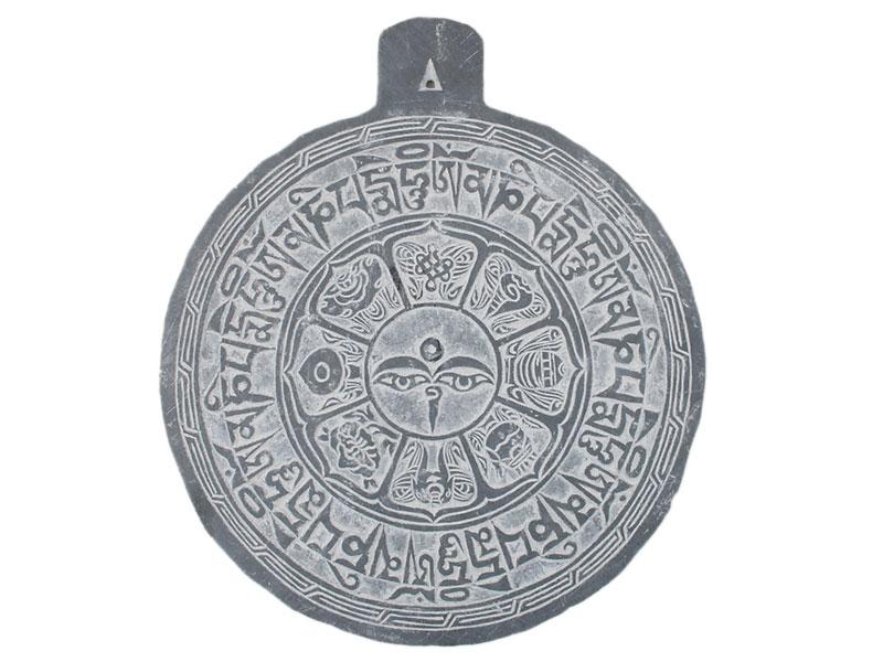 Tonschiefer Relief Manistein Buddha Augen Ashtamangala