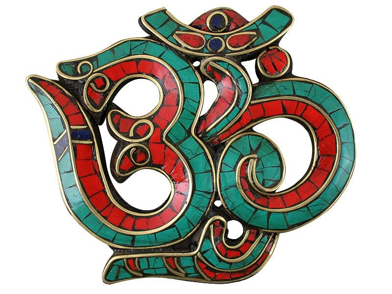 Om Symbol Holz mit Türkis, Koralle und Lapislazuli Inlay