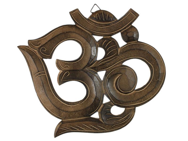 Om Symbol aus Mangoholz braun 32 cm
