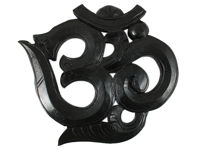 Om Symbol aus Holz geschnitzt schwarz 22 cm
