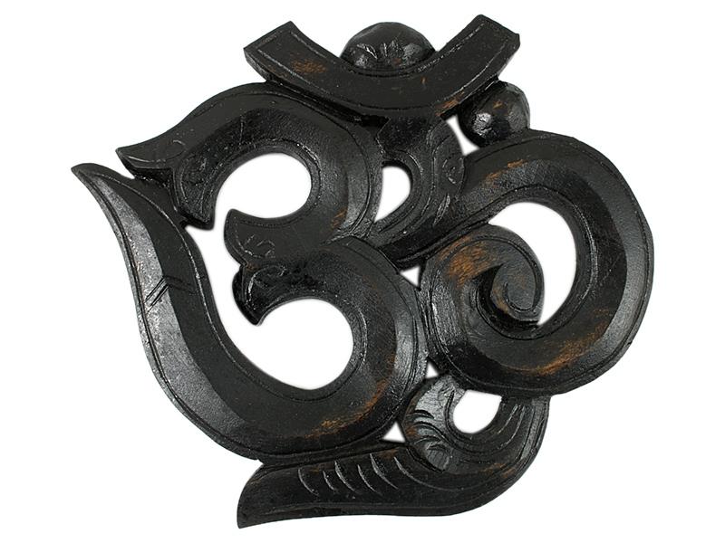 Om Symbol aus Holz schwarz 17 cm