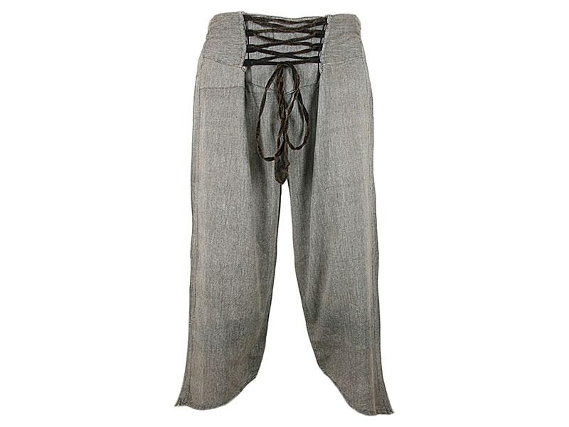 Caprihose 3/4 Hose aus Baumwolle mit Schnürung