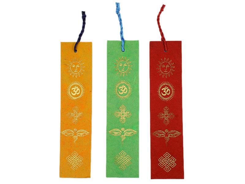 Lesezeichen Loktapapier mit buddhistischen Symbolen