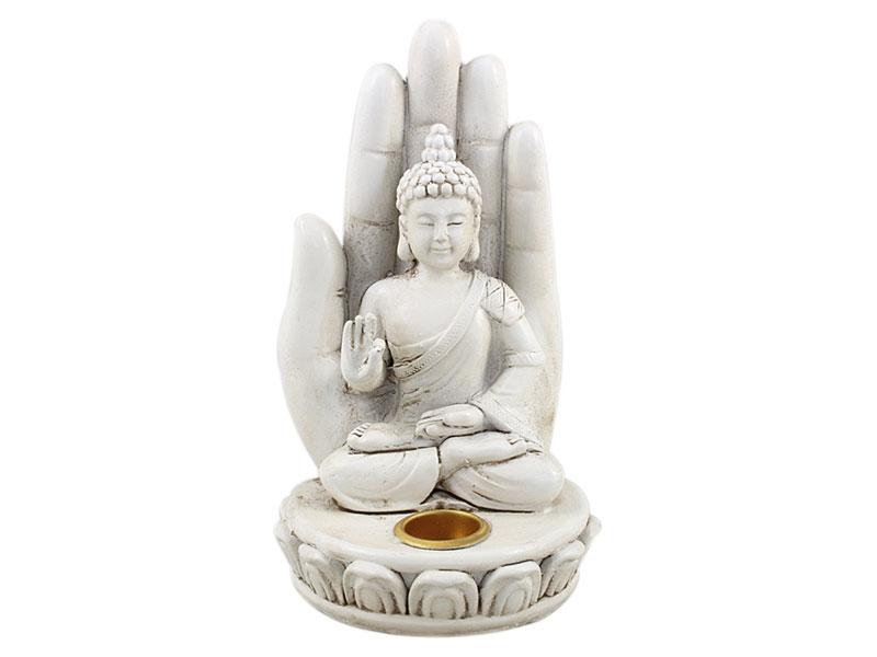 Räucherkegelhalter Buddha mit Hand weiß