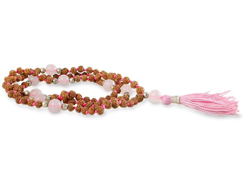 Rudraksha Rosenquarz Mala mit 107 Perlen 4 - 5 mm