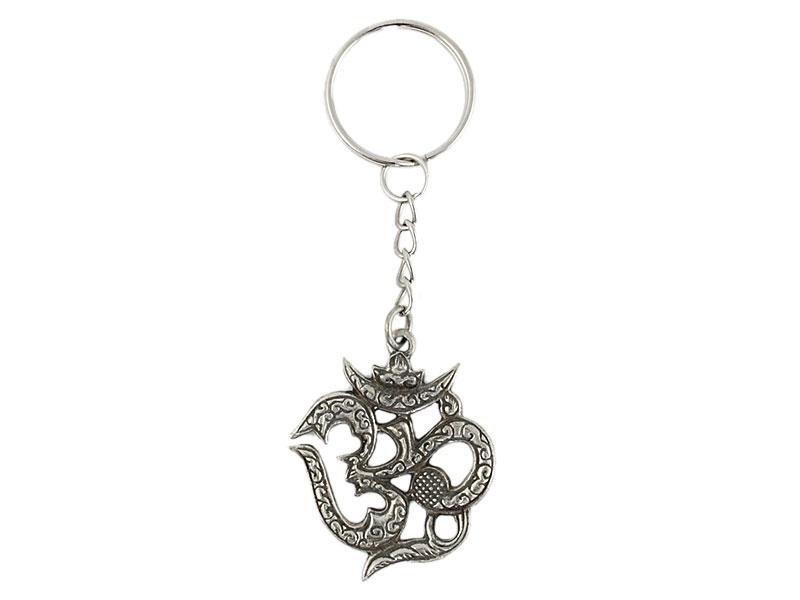 Schlüsselanhänger Om Symbol Messing 8 cm