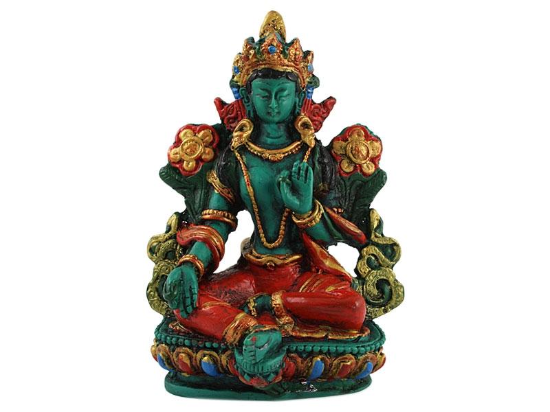 Grüne Tara Statue handbemalt 11 cm
