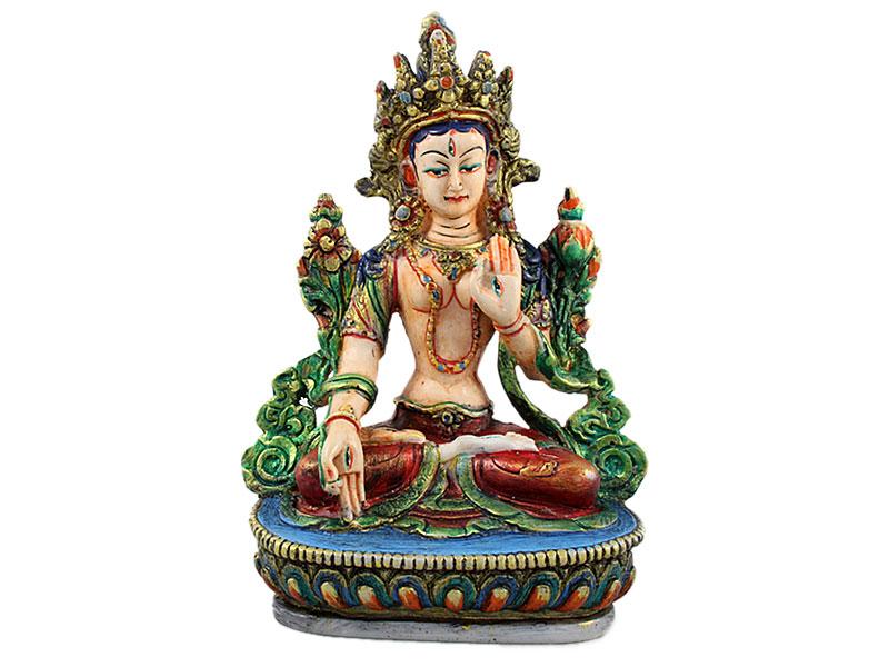 Weiße Tara Statue handbemalt