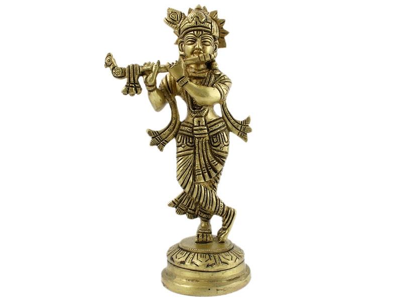 Krishna Statue Messing stehend 18 cm