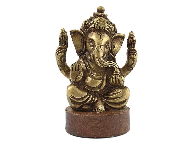 Ganesha Statue Figur sitzend auf Holzsockel 6,5 cm